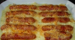 receta salchichas  frescas gratinadas