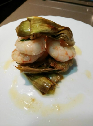 receta ALCACHOFAS CON GAMBAS