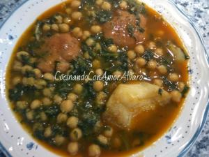receta Potaje de Garbanzos con Bacalao y Espinacas